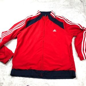 Adidas   Red Navy Windbreaker Zip Up